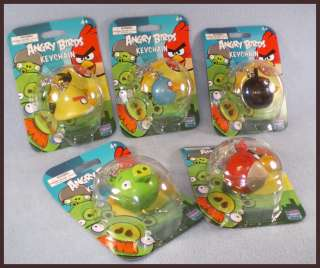 Angry Birds Keychain Pack Four Birds Blue Yellow Red Black and one