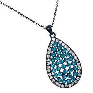 Blue Rhinestone Teardrop Pendant Necklace Fashion Jewelry Jewelry
