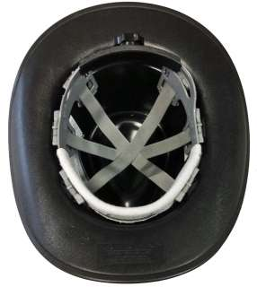 BLACK COWBOY STYLE HARD HAT 6 PT RATCHET SUSPENSION