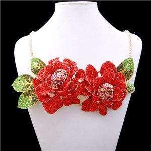 Chunky Rose Flower Pendant Necklace Swarovski Crystal