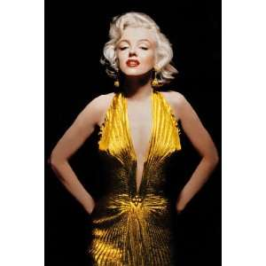 Marilyn Monroe Gold Dress Iconic PAPER POSTER measures 36 x 24 inches