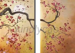 Framed Cherry Blossom Flowers Huge Set Oil Painting Handmade Canvas
