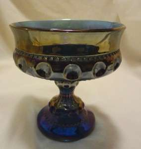 VINTAGE CARNIVAL GLASS BLUE PEDESTAL CANDY DISH/ COMPOTE BOWL KINGS
