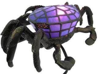 Blue Stained Glass Crab Accent Lamp Bronzed Base Color BLUE