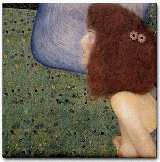Gustav Klimt Ceramic Art Tile Girl with Blue Veil