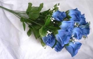 14 ROSES CORNFLOWER BLUE Long Stem Silk Flower Bush Wedding Bridal