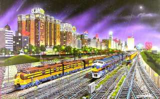 CHICAGO NIGHTS by ROBERT WEST 1000 PIECE SUNSOUT TRAIN JIGSAW PUZZLE
