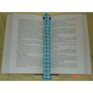 Blue Checked Booksnake: A Handmade Weighted Bookmark    the Perfect
