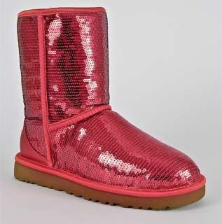 AUSTRALIA CLASSIC SHORT SPARKLES SEQUINS RUBY RED WOMENS BOOTS US 9