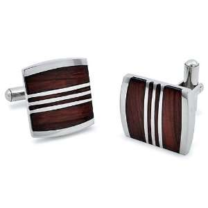 Stainless Steel Red Wood Cuff Links West Coast Jewelry
