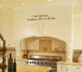 Cook With Wine Kitchen Vinyl Wall Word Art Lettering