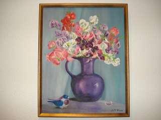 VINTAGE flower floral sweet pea ORIGINAL oil PAINTING