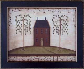Home Sweet Home Folk Primitive Salt Box House Framed