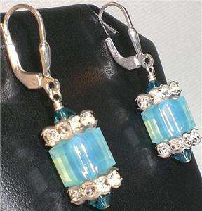 Opal Blue Crystal Leverback Cube Earrings Made with Swarovski Elements