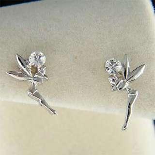 Swarovski Crystal Girls Kid Small Tinkerbell fairy Stud Earrings NEW