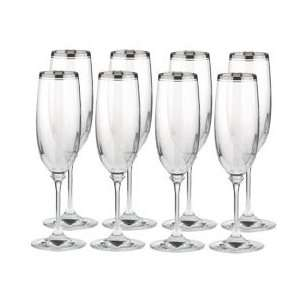 Mikasa Stephanie Platinum Crystal Champagne Flute, Set of