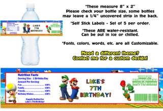 Super Mario Bros Kart Luigi Printed Water Bottle Labels ~ Birthday