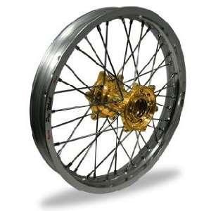 Pro Wheel Supermoto Rear Wheel Set   17x5.00   Silver Rim/Gold Hub 27