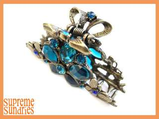 Blue Flower Butterfly Alligator Jaw Hair Clip Claw 321