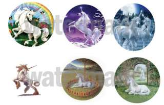 UNICORNS SET OF 6 ONE INCH BUTTONS 1 Pins