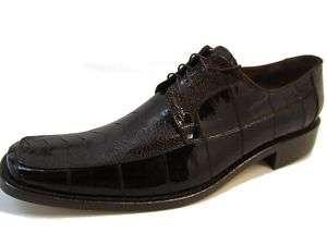King Exotic Brown Ostrich Leg/Eel Mens Dress Shoes 6 15