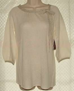 Cable & Gauge Cashmere Wool Blend Bow Metallic Knit 3/4 Sleeve Sweater