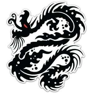 Black Tribal Dragon Car Bumper Sticker Decal 4.5x4