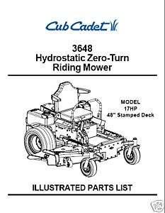 Cub Cadet Hydrostatic ZeroTurn Mower Parts Manual 3648