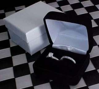 Plush BLACK VELVET High End DOUBLE RING Set Gift Box