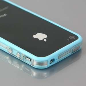 Total 33 Colors] Blue+Transparent Bumper Case for Apple iPhone 4 / 4S