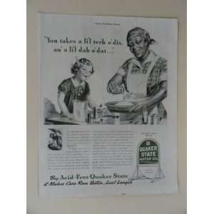 Quaker State Motor Oil. Vintage 30s full page print ad. (little girl