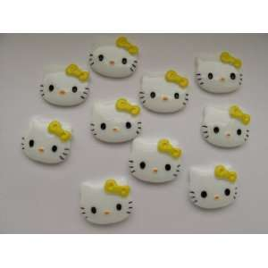 10 Large Resin Cabochon Flat Back Kitty Cat Yellow Bow Cellphones 27mm