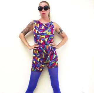 80s Vtg Jazzercise Leotard Moret Colorful Pop Art sz XS