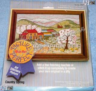 Bucilla COUNTRY SPRING Picture Perfect Crewel Stitchery Kit
