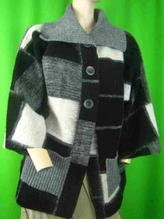 ITALY Black Gray Wool Blend Knit NEW Cardigan Sweater S