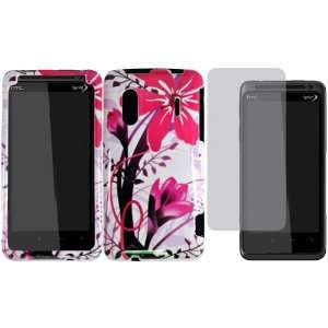 Pink Splash Hard Case Cover+LCD Screen Protector for HTC