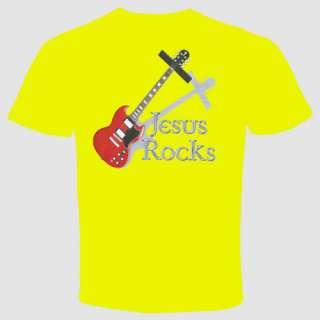 jesus rocks t shirt christian guitar music band cool