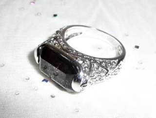 Lia Sophia Espresso Ring Brown Smoky Quartz Topaz Filigree Sz 8