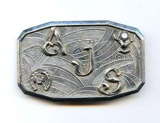 Vtg Deco 1920s Silver Tone Initial AJS Horseshoe & BPOE Elks Mens Belt