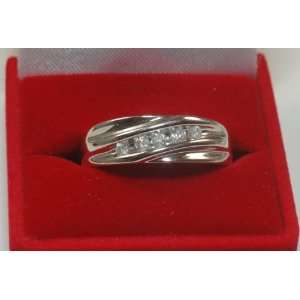 His 14k Solid White Gold and Diamond Wedding Band New Jewelry