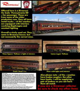 Rivarossi Ho Scale Pennsylvania RR 4 car passenger set (kadees, lights