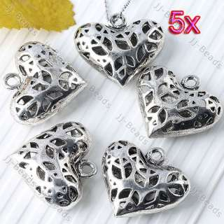 5pc Vintage Tibetan Silver Plated Hollow Peace Symbol Logo Heart Charm