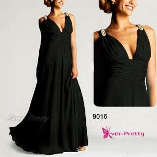 Exquisite Blacks Diamante Chiffon V neck Long Evening Gown 09016BK