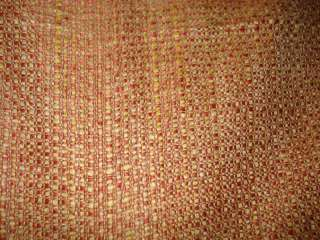 RED ORANGE YELLOW GOLD SLUBBY WOVEN UPHOLSTERY FABRIC