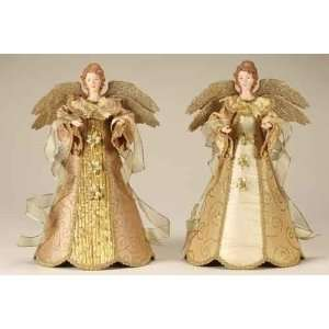 Set of 2 Serene Gold Glitter Swirl Angel Christmas Tree