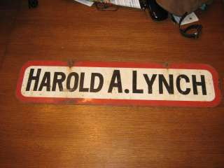 Vintage Old Metal Double Sided Harold Lynch Sign