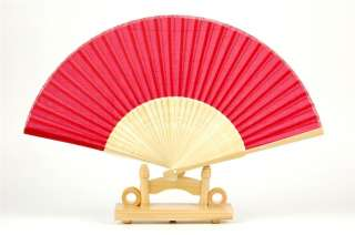 FAN SOLID RED SILK BAMBOO Hand Pocket Asian Decor New