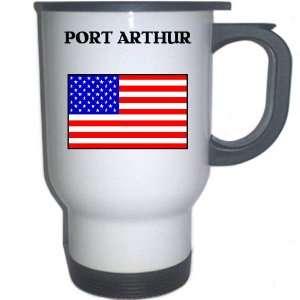 US Flag   Port Arthur, Texas (TX) White Stainless Steel