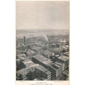 1893 Print New York City Panorama Shot Tower Spruce St