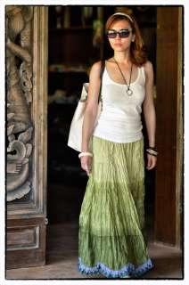 Bnew Gorgeous Green Womens Boho Gypsy Summer Beach Hippie Long Skirt